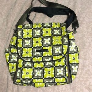 Petunia Pickle Bottom boxy diaper bag green tan